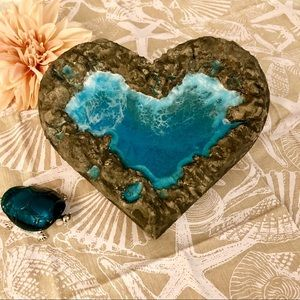 Other - 3D Concrete & Resin Ocean Heart Wall Art Decor